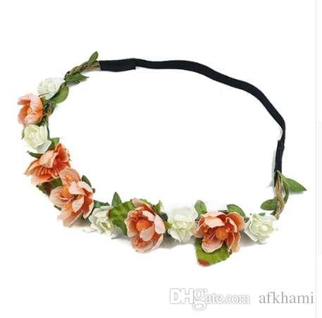 Dama de honor guirnalda Headwear mujer elástica banda para el pelo flores tocado decoración de la boda