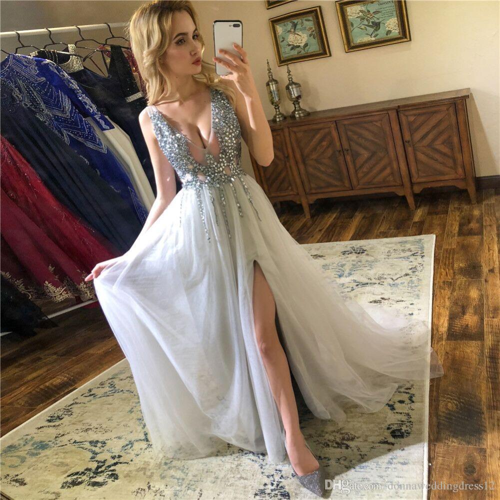 Sexy abito da sera 2019 con scollo a V perline aperto indietro una linea abiti da sera lunghi partito vestido de festa alta spacco tulle abiti di promenade