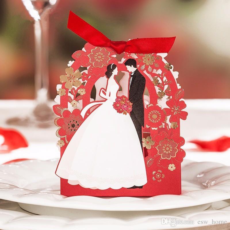 Свадебные Сувениры Подарки Коробки Лазерная Резка Цветы Свадьба Конфеты Шоколад Благоприятствует Коробки Высокого Качества Бумажные Коробки