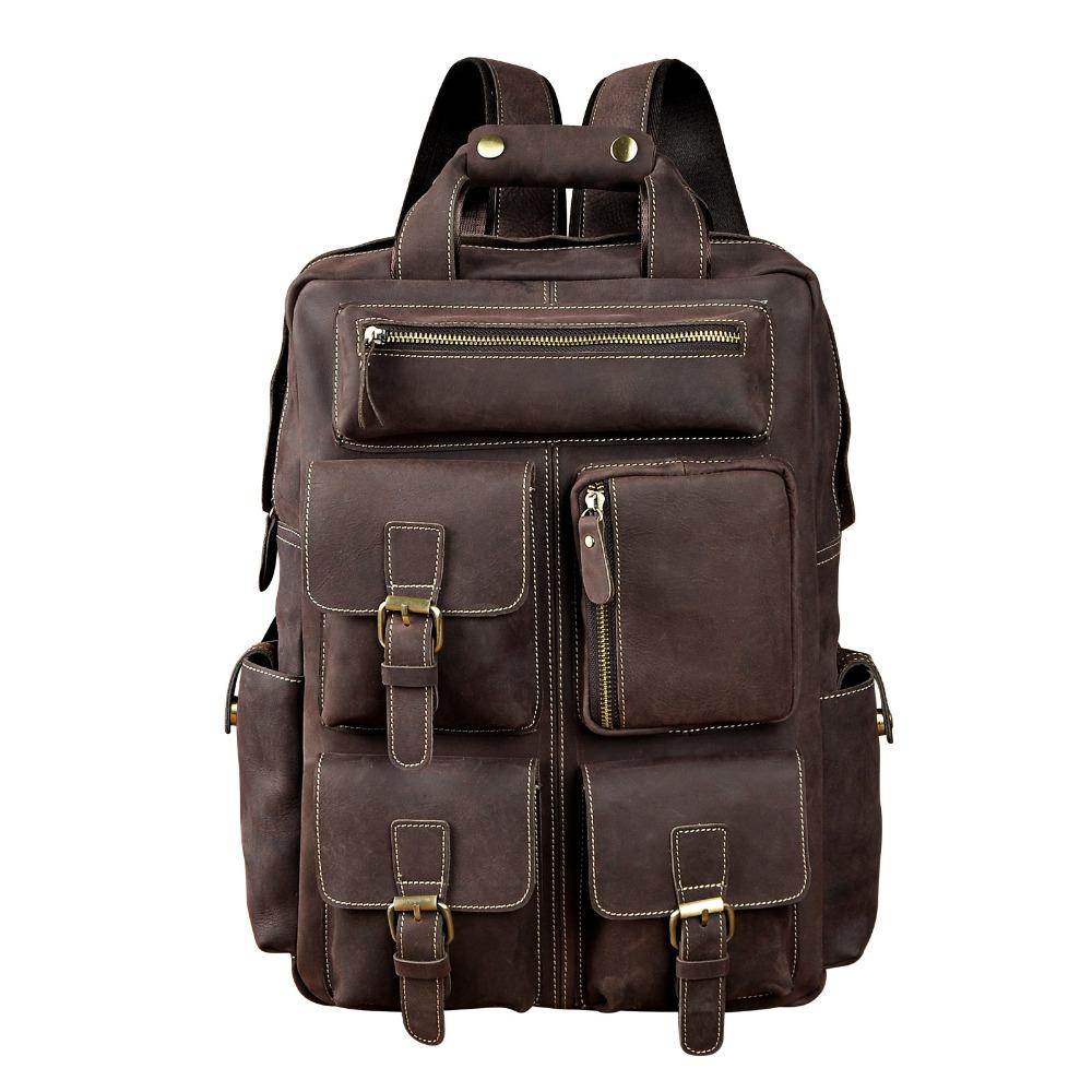 Uomo in pelle originale Moda dell'Università di viaggio College School Book Bag Maschio di Daypack dello zaino Student Laptop Bag 1170