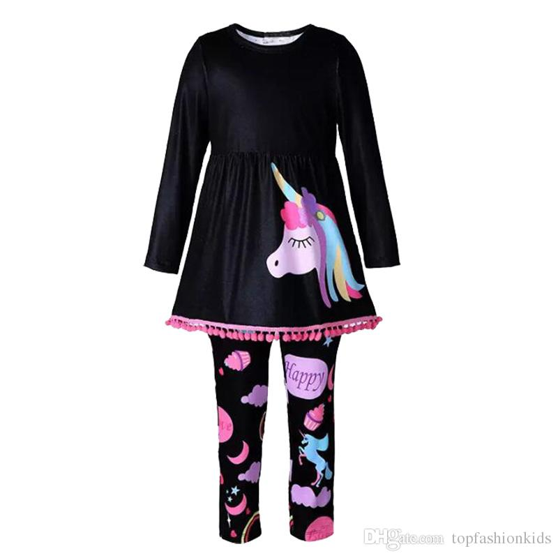 Baby Girl Clothes Long Sleeve Unicorn Print Dress+Rainbow Leggings Casual Kids Spring Autumn Clothing Sets Children Outfits