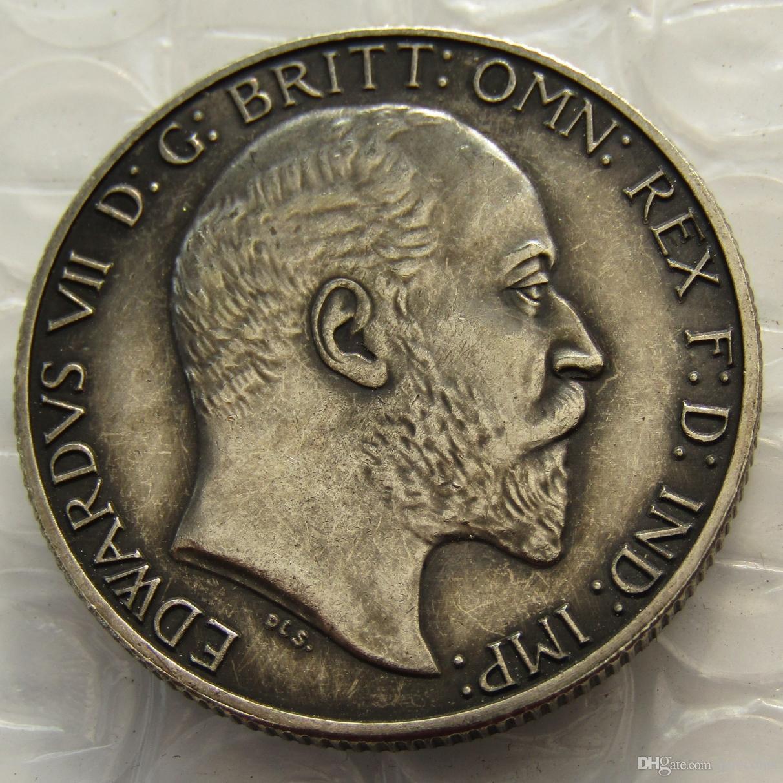 Gran Bretaña 1902 King Edward VII Silver Florin Copy Coin accesorios de decoración del hogar