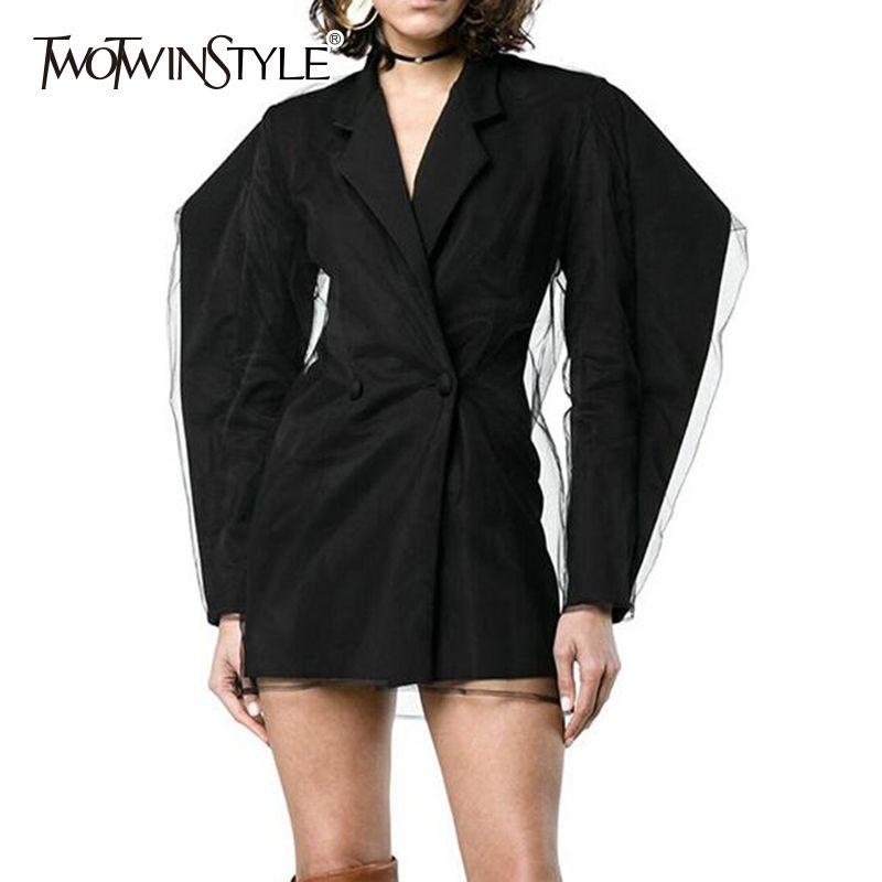 TWOTWINSTYLE Malla Patchwork Blazer Mujer Volantes Manga Hinchada Doble Pecho Negro Chaqueta Larga Otoño Moda Nueva ropa L18101301