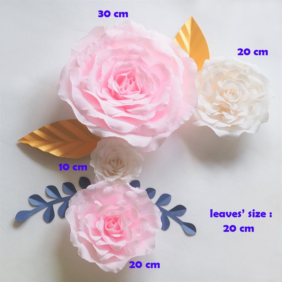 Krep Dev Kağıt Çiçekler Zemin Yapay El Yapımı Krep Kağıt Gül 4 ADET + Düğün Parti Deco Ev Dekorasyon Için 4 ADET Bırakır