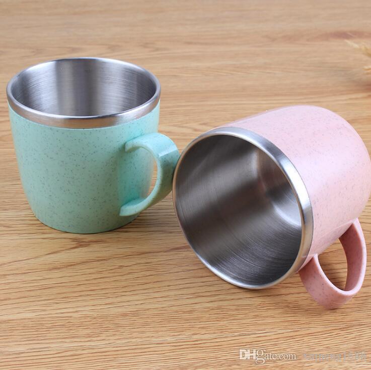 Mini Cute Plastic Coffee Tea Mug, Eco-Friendly Wheat Straw Stainless Steel Kids Children Drinking Water Cup Mugs School Office Drinkware