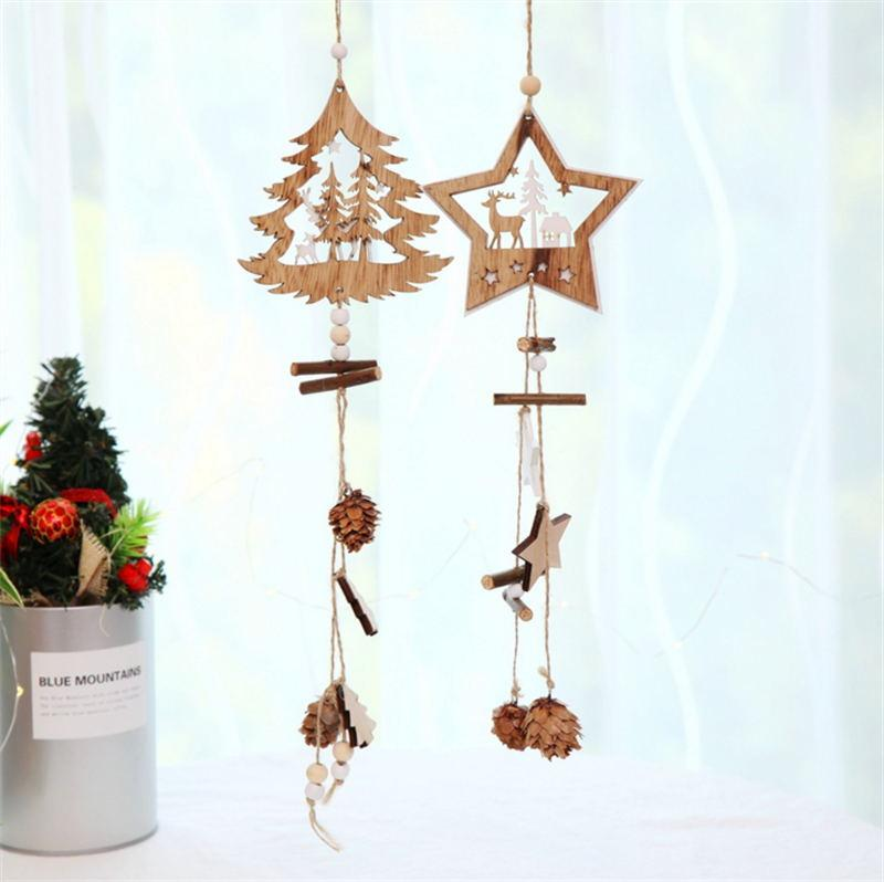 Diy Creative Wooden Christmas Pendants Decoration Wood Crafts Christmas Ornaments Party Home Decor Supplies Kids Toys Silver Christmas Decorations