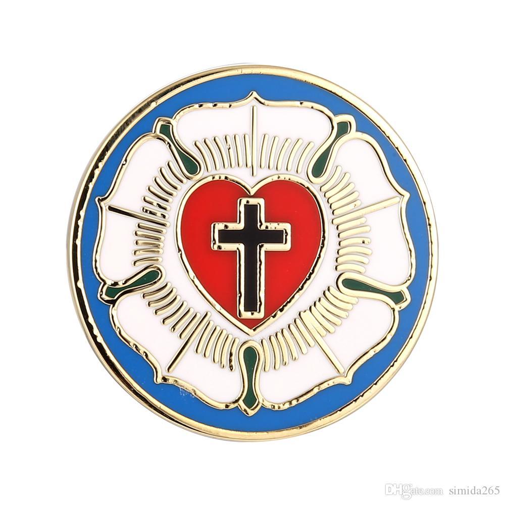 Luther Rosa SEAL Lutheran Church símbolo da cruz de esmalte duro ART lapela