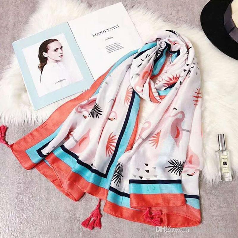 Fashion summer Scarves Women Tropical flamingo print cotton linen Ethnic Shawl Scarf Vacation bohemian beach sunscreen Towel Sarongs Wraps