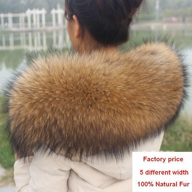 Winter 100% Genuine Real Natural Raccoon Fur Collar Women Scarf Fashion Coat Sweater Scarves Luxury Raccoon Fur Neck Cap R1 S18101904