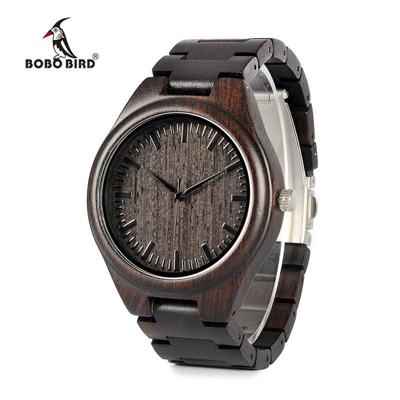 BOBO BIRD WH05 Brand Design Classic Ebony Wooden Mens Watch Full Wood Strap Quartz Watches Lightweight Gift for Men Carton Box S914