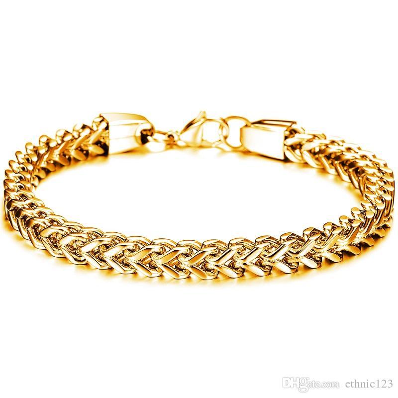 Gümüş Siyah Altın Renk Moda Basit erkek Bileklik Paslanmaz Çelik Bilezik Erkekler için Watchband Takı Hediye Boys 671