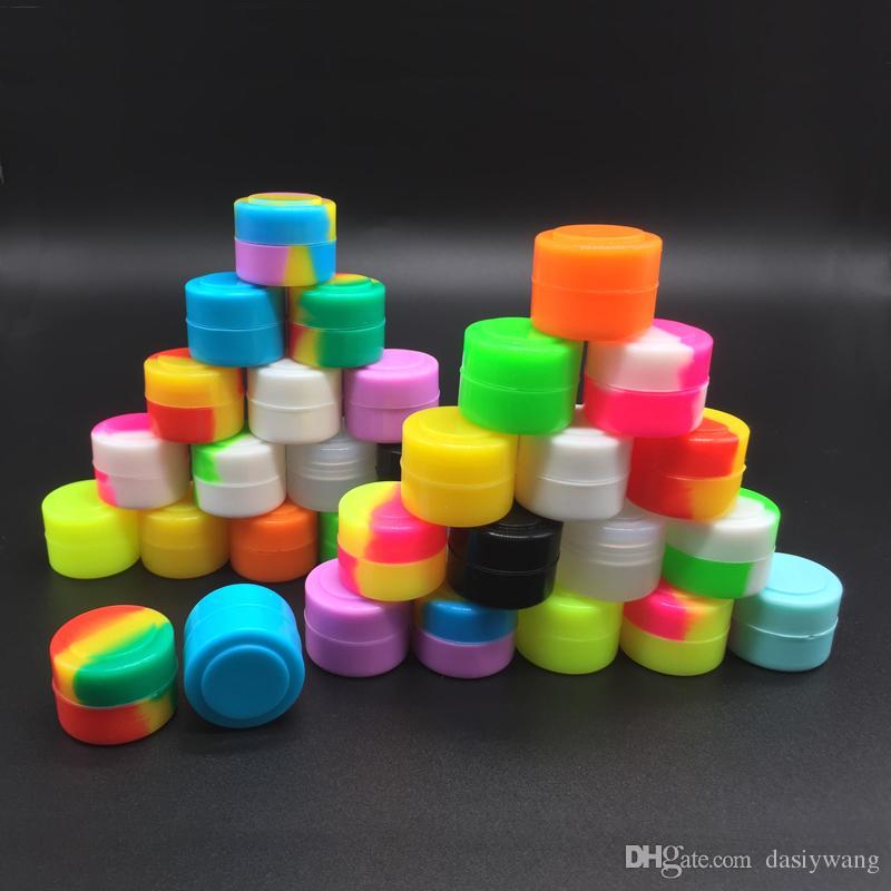 Wholesale Round Nonstick Silicone Jar Containers 2 Ml Mini Storage Container 5 Pcs/lot e-Cig Accessories