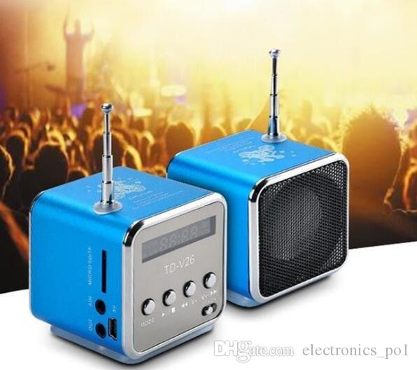New type portable Mini Speaker TD-V26 HiFi Stereo Audio Speakers FM Radio TF U Disk Slot Multi-Speaker Digital Sound Box Mp3 Music Player