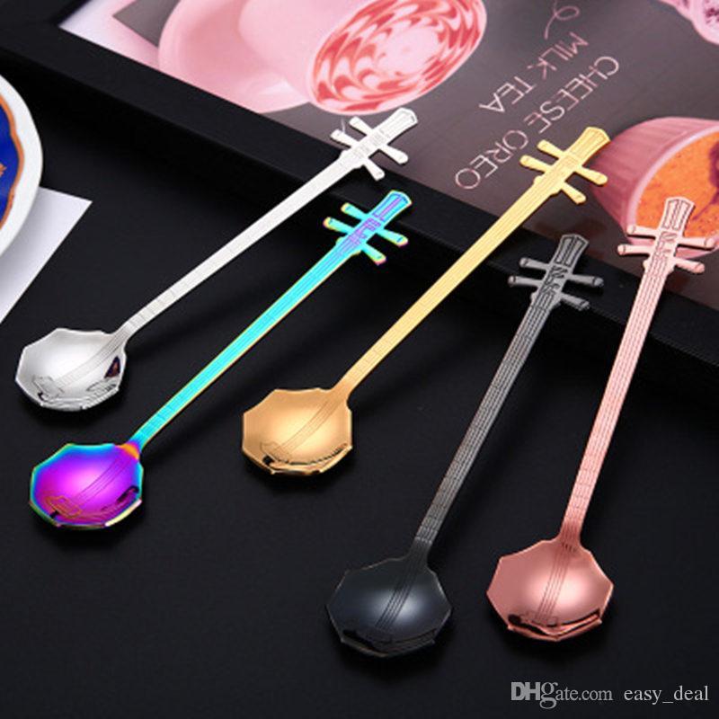 Нержавеющая сталь мультфильм музыкальный инструмент ложка творческий молоко кофе ложка мороженое конфеты чайная ложка аксессуары jc-188