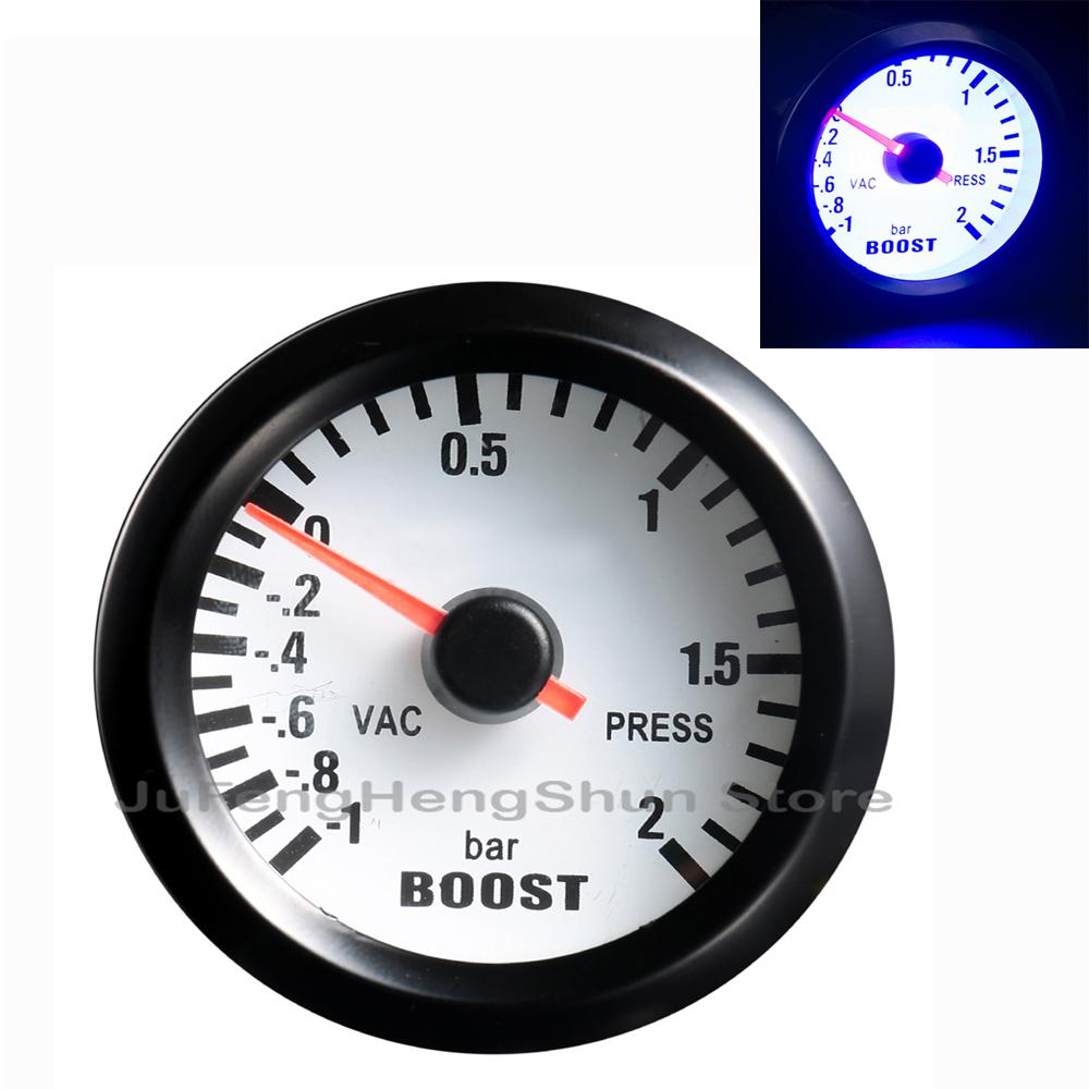 "New Bar Turbo Boost Gauge 2"" 52mm Universal Car Pointer Meter 1~2 Bar Vacuum Press / vac Gauges DC 12V Auto indicator instrument"