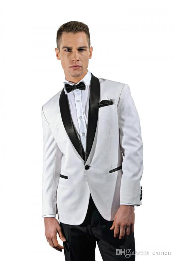 Black Shawl Lapel Custom Made Groom Wear Vintage Men Suits Wedding Tuxedos Groomsmen Formal Blazer White Suits Prom 2 Piece Jacket+Pants