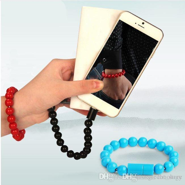 Phone Cases Micro USB Cable Beads Bracelet Charging for android Samsung Galaxy S5 S6 Edge J5 Xiaomi Redmi 4 Pro