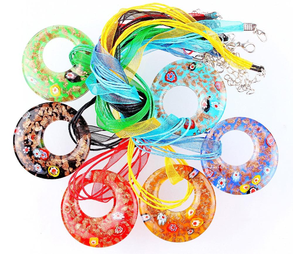 Hot Wholesale 6pcs handmade Murano Lampwork Glass Mixed Colorful Gold Sand Round Millefiori Pendants Charms Necklaces