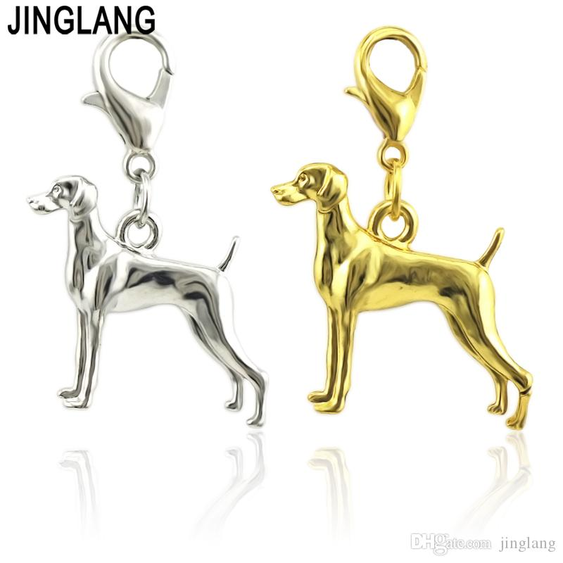 JINGLANG Fashion Alloy Dog Charms Pendants DIY Necklace Bracelet Keychain Making Jewelry Accessories wholesale