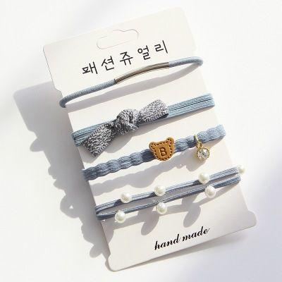 Четыре части корейских волосы украшения Головного убора вязаных волосы Малых Свежее резинка Медведь Bowknot Прекрасного Круг волос