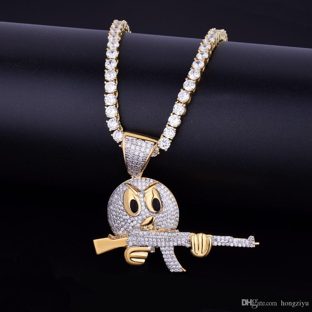 Buzlu Emoji Yüz Karakter Gun Kolye Kolye Zinciri Ile Charm Altın Gümüş Kübik Zirkon erkek Hip hop Takı Için hediye