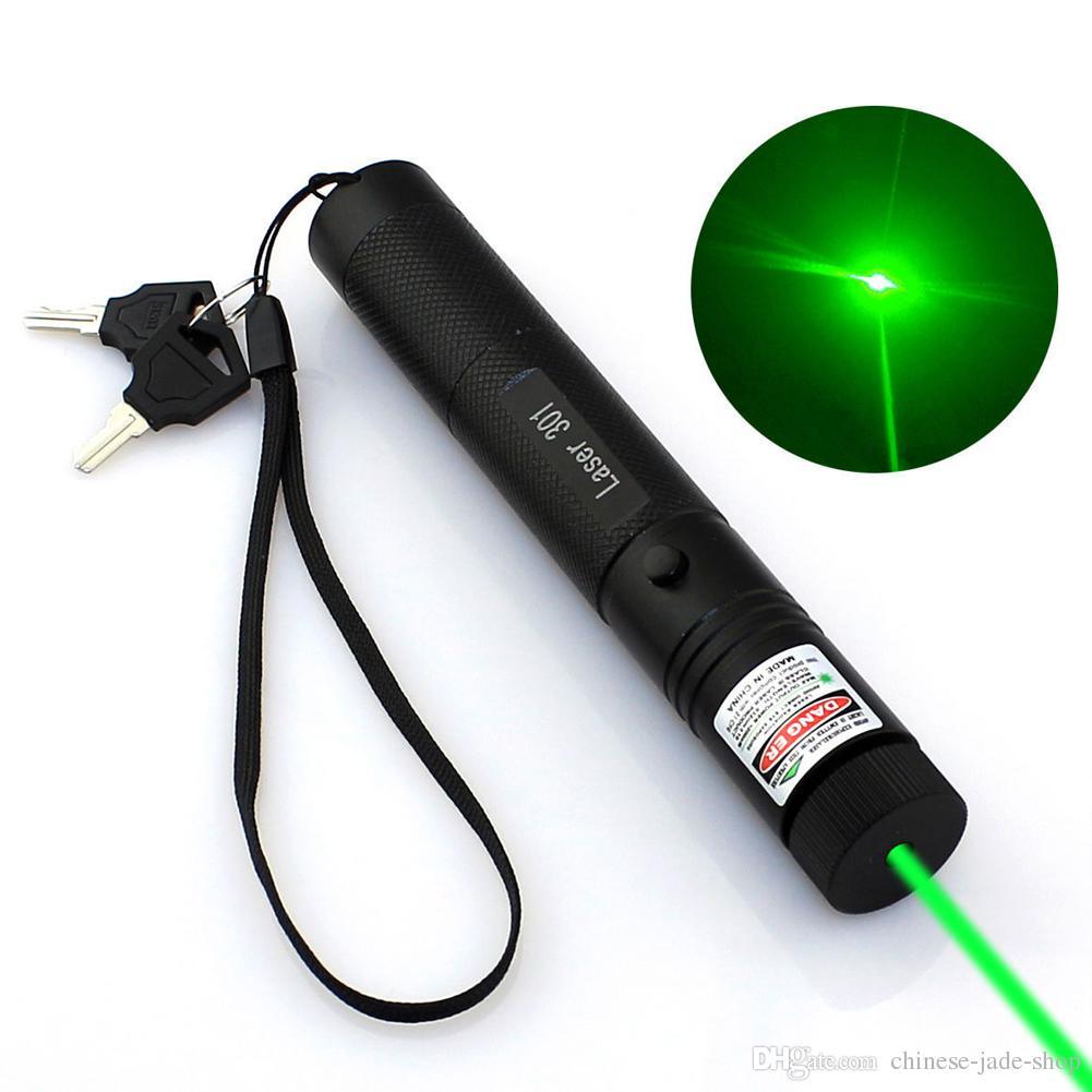 고출력 가변 Zoomable 초점 레코딩 그린 레이저 포인터 펜 301 532nm 연속 라인 500-10000 미터 레이저 범위 70PCS / LOT
