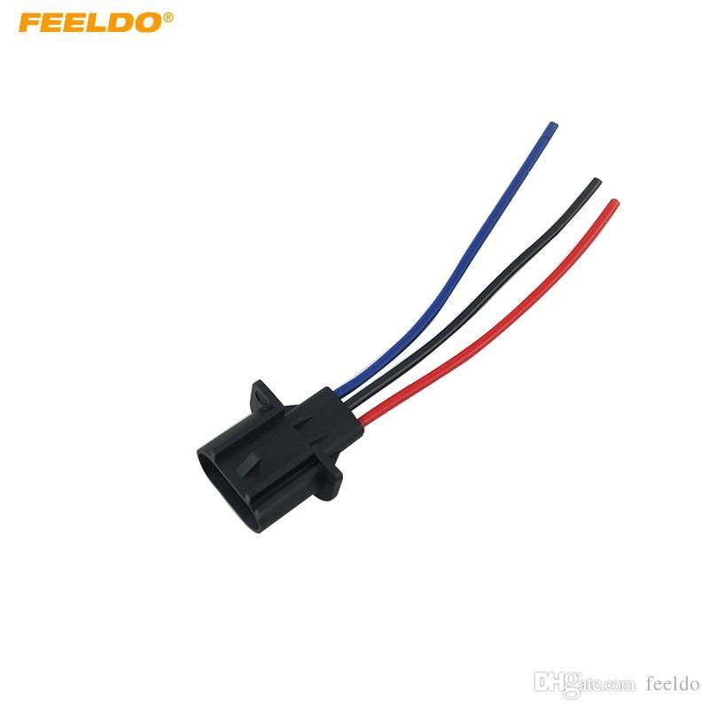 FEELDO Coche H13 Caja de zócalo de plástico masculino para auto halógeno LED faro conector conector Cable # 5456