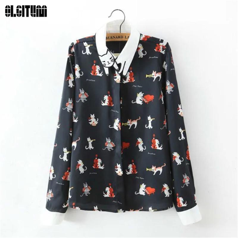 OLGITUM 2018 новый милый кот вышивка воротник старинные фортепиано кошка печати блузка с длинным рукавом рубашки для женщин BS002