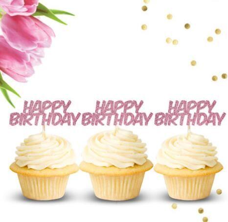 Großhandel Benutzerdefinierte Farbe Glitter Happy Birthday Geburtstag Cupcake Topper Taufe Taufparty Dekoration Donut Essen Picks Von Suozhi1992