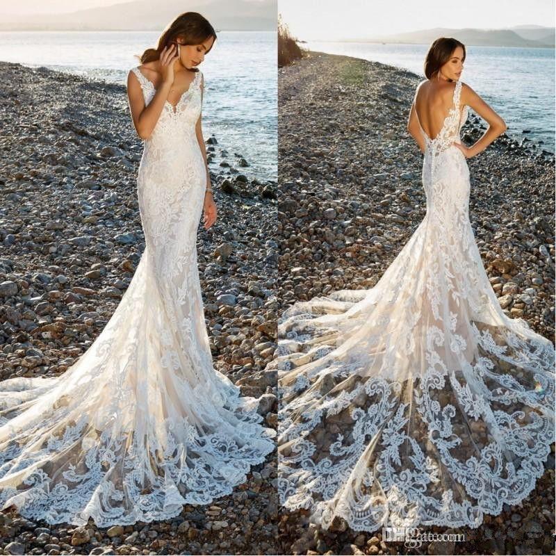 2019 Lace Mermaid Wedding Dresses V Neck Backless Summer Beach Sweep Train Wedding Bridal Gowns BC0126