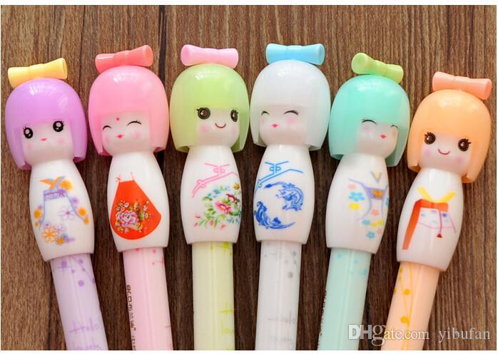 Japanese Girl Doll Gel Pen Kawaii Kimono Writing Signing Stationery Creative Gift School Office Supply 16pcs/lot