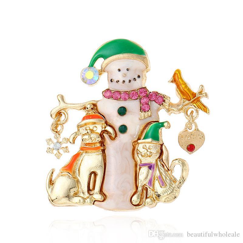 fiocco di neve pupazzo di neve di cristallo albero di natale del perno del perno di modo all'ingrosso Mental Natale donne bambini campana di Natale gioielli regali spilla