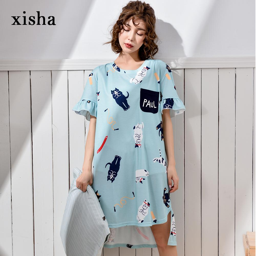 XISHA Stitching loose long T-shirt sweet girl nightdress youthful and lively cotton short-sleeved nightdress Casual nightgowns
