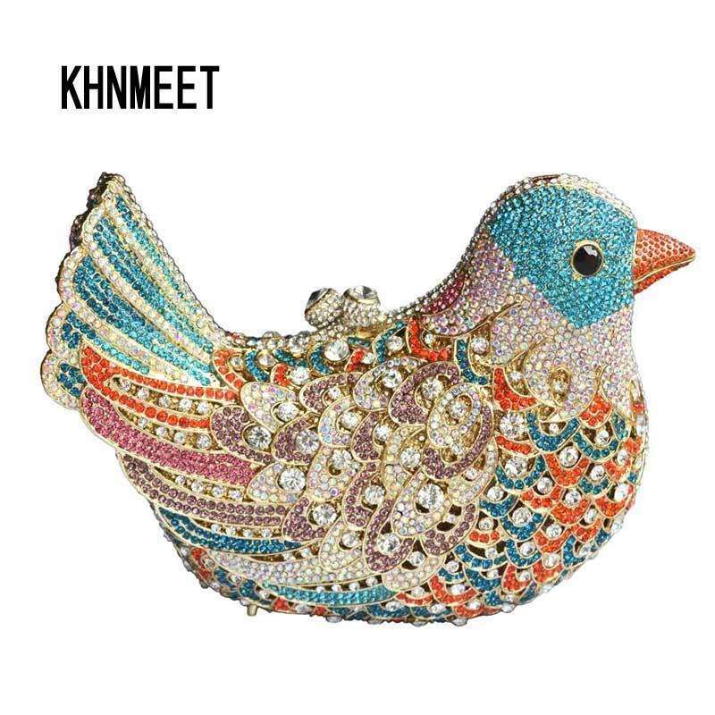Sacs de soirée de luxe populaires Femmes de cristal étincelantes Pochettes Oiseaux multicolores motif de sacs à dîner pour dames Sac à main d'embrayage SC035 Y18103003
