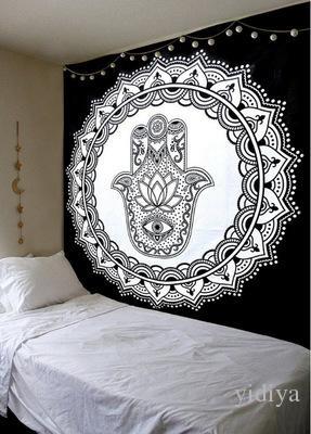 Mandala indio Mandala blanca loto blanco Tapiz de pared Manta de playa Ropa de cama india Hoja de tapicería decorativa