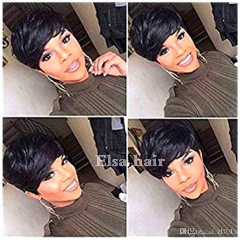Короткие парики человеческих волос для черных женщин бразильский Пикси человеческих волос кружева парики полный парики волос кружева с челкой