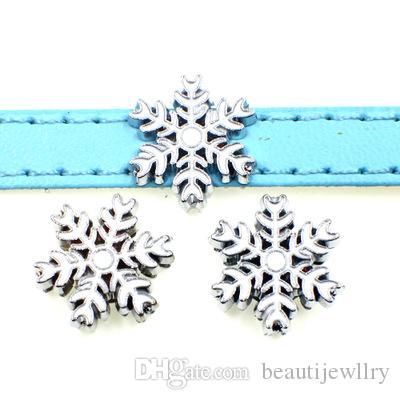 20pcs accessoire bricolage alliage flocon de neige glisser charme perle Fit bricolage 8 MM chien collier de chat bracelet bracelets