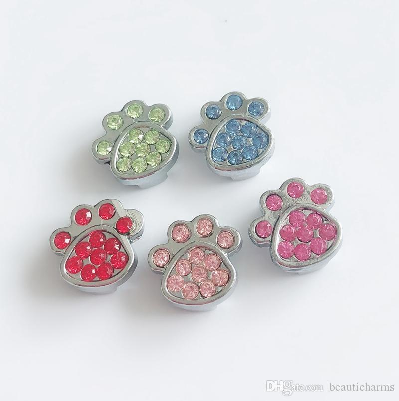 10 unids color mezclado 8 MM Completo Rhinestone Paw Impreso Deslice Encantos Beads DIY Accesorios Fit 8mm Collar Correas Pulseras