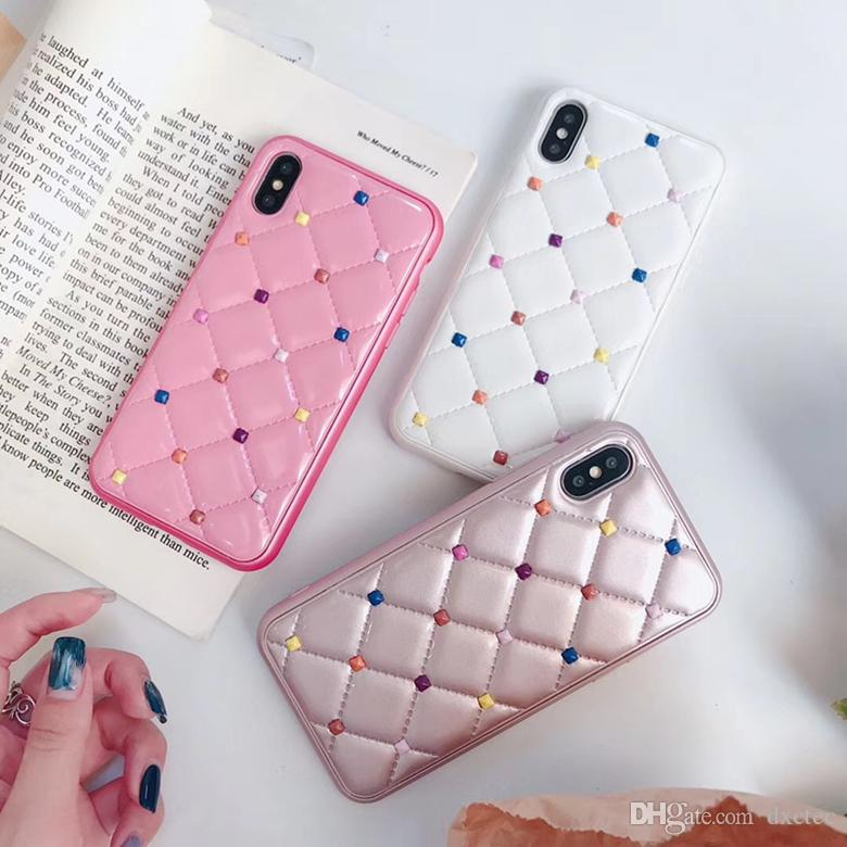 Rainbow Rivet Square Lattice Wool Holster Case Candy Color Leather Back Cover Tidy for iPhone XS Max XR X 6s 7 8 Plus