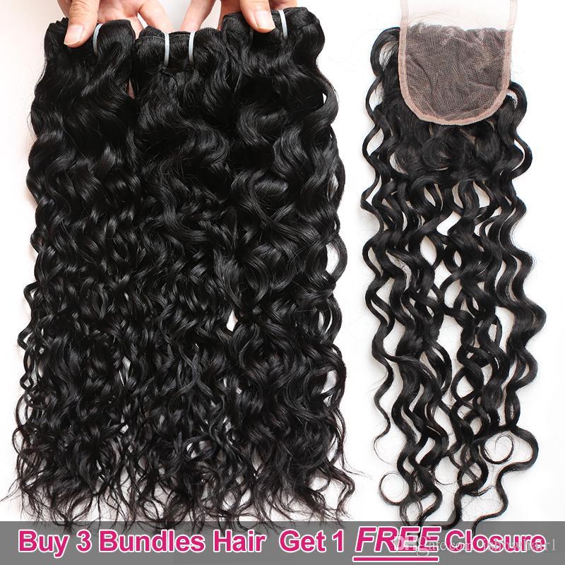 Ishow Hair Big Стимулирование сбыта Купить 3 пучка и получить бесплатное закрытие Бразильская волна воды Необработанные перуанские волосы человека.