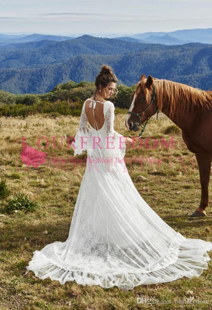 Свадебное платье из богемного кружева с открытой спиной 2019 и колокольчиком на заказ, свадебное платье