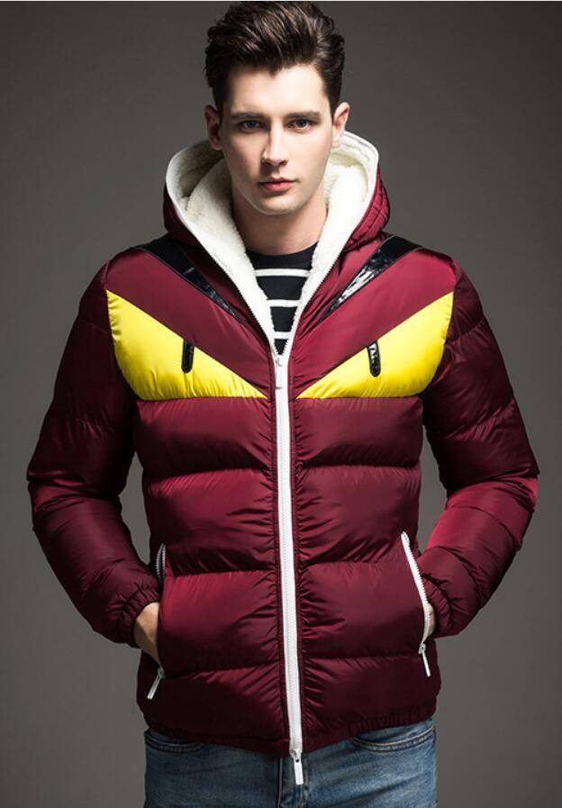 Son erkek kış aşağı ceket pamuk kuzu kapüşonlu sıcak ceket moda sokak spor gündelik giyim altın göz ceket gömlek