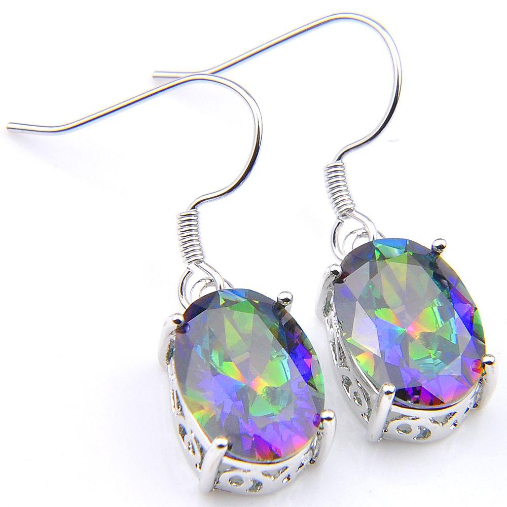 Biżuteria wakacyjna Prezent Luckyshine Rainbow Mystic Topaz 925 Posrebrzane Wysokiej jakości Klasyczne Dla Kobiet Kolorowe Kolczyki Cyrkon