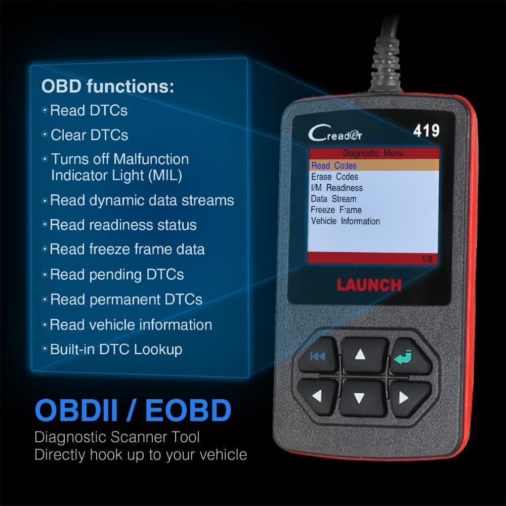 wholesale OBD2 EOBD Code Reader Scanner Creader 419 diagnostic Tool with Manufacturer Specific DTCs Multilingual Same as AL419