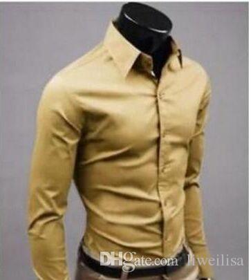 white-collar Men solid color long-sleeved shirt wild evening dress shirt cotton high-quality long-sleeved shirt 17 color M-XXXL