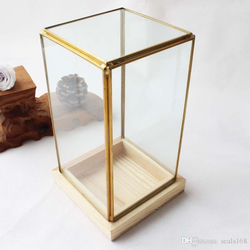 Miniature Glass Terrarium Geometric Diamond Desktop Garden Planter For Indoor Gardening Home Decor Vases With Wooden Pedestal HH7-1183