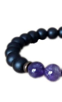 Crown Chakra Amethyst Bracelet Shungite Bracelet Healing Black Bracelet  Power Meditation Birthstone Charm Bracelet Charm Bracelet Beads From
