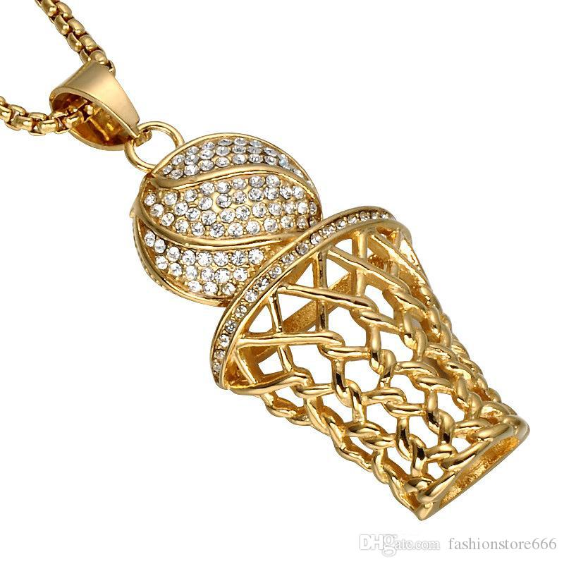 HIP Hop Iced Out Bling Full Rhinestone Basketball Pendant Necklaces Gold&Silver Stainless Steel Sports Necklace for Men s Fashion Jewelry