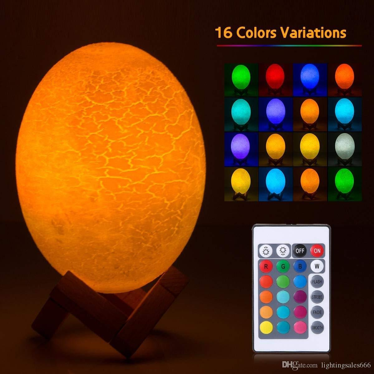 Egg Shape Rechargeable 16 Color Changing LED Lamp Night Light Remote Control