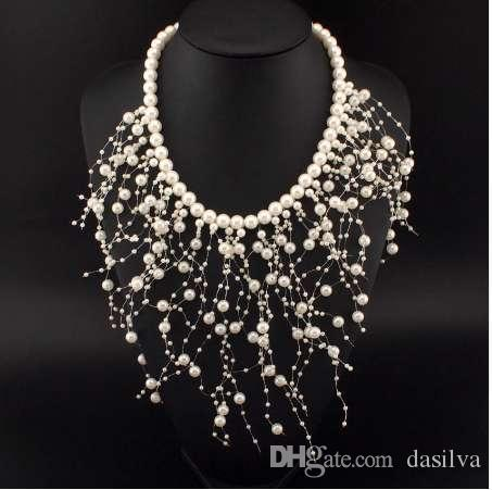 UKMOC Fashion Beads Collar Necklace For Women New Wedding Accessories Releasing Simulated Pearl Necklaces Statement Jewelry